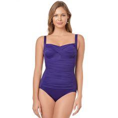Women's Croft & Barrow® Body Sculptor Control One-Piece Swimsuit, Size: 16, Drk Purple