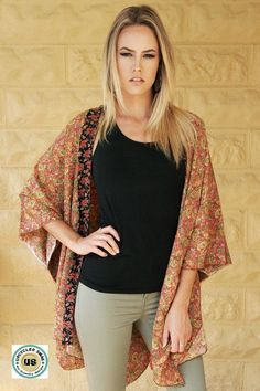 Up cycled Kimono one size free size satin paisley floral ooak boho chic Bohemian Plus size trendy cover up recycled By Upcycled Swag by UpcycledSwag on Etsy