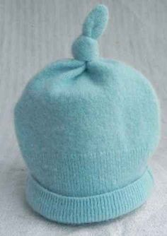 Blue Hat Upcycle from a Cashmere Sweater~Beautiful. d1358ad1325