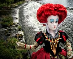 The Red Queen doll at Tittybottle park Otley west Yorkshire. July 2016.