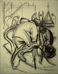 Diego Rivera. Pneumatic Drill (cartoon for Pneumatic Drilling). 1931. Charcoal on pape