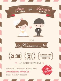 wedding invitation card template with cute groom and bride cartoon by kraphix, via Shutterstock Electronic Wedding Invitations, Homemade Wedding Invitations, Wedding Invitation Card Template, Photo Wedding Invitations, Wedding Invitation Templates, Event Invitations, Birthday Invitations, Bride Cartoon, Card Templates