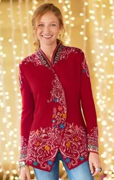 Add a vibrant, breezy touch to winter days with this charmingly patterned  merino wool swing cardigan.