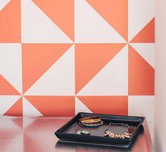 inspiration | graphic removable wallpaper as ceremony backdrop | chasing paper design | via: design sponge