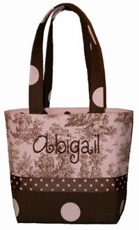 diaper bag: good combo of toile and brown dot