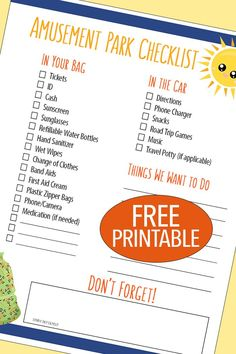 Love this free printable amusement park checklist! Everything you need to get organized for a day at the park - packing lists for your bag, your car, and a must do list for when you are there. Perfect for all your summer day trips! (Sponsored by Cedar Fair)