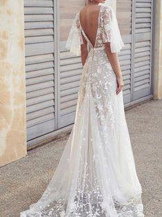 06b57997f24 Half Sleeves Pattern Court A-Line Beach Wedding Dress