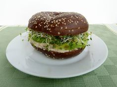 Pumpernickel Sandwich with Avocado, Sprouts and White Bean Spread