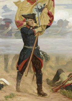 Frederick the Great leading his troops into battle at Zorndorf, Seven Years War . This flag was also used as a veteran standard banner of the NSDAP Volksturm Frederick The Great, Frederick William, Military Art, Military History, First French Empire, Friedrich Ii, Historia Universal, Seven Years' War, Warrior Spirit