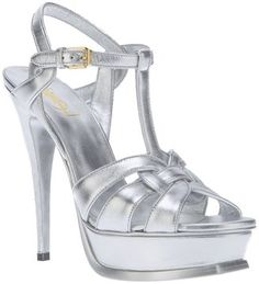 Yves Saint Laurent metallic high heel sandal best prom shoe ever!!!