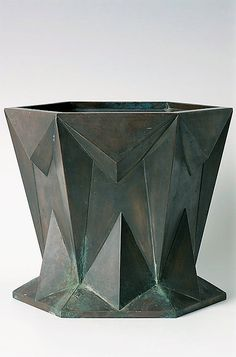 Antonin Prochazka  Cubist urn – Jardiniere Bohemia, circa 1916, base metal, flowerpot case, hexagonal base, conical widening body with angular upper and lower rim, height 21.5 cm, O 25.5 cm, one part missing Illustrated in: Czech Cubism. Architecture, Furniture, and Decorative Arts 1910–1925, Princeton Architectural Press, Vitra Design Museum 1992, p. 294. Catalogue: Český kubismus, UPM 1992. Museum of Applied Arts in Prague has an analogical urn in its collection – made of patinated copper… Cubist Architecture, Vitra Design Museum, Modern Crafts, Art Deco Furniture, Art Deco Fashion, Art Decor, Art Nouveau, Sculptures, Modernism