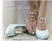 PARISIAN pearls rhinestones elite Barefoot sandals wedding shoes bridal bridesmaid prom beach wedding Shoe Jewelry Catherine Cole Studio SJ2