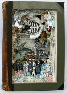 Alexander Korzer-Robinson's pieces keep the encyclopedia volume (relatively) intact—he goes through page by page, cutting around illustrations. He leaves some in, removes others, and by doing so creates a diorama-like piece from books that no longer serve an academic purpose.