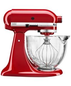 KitchenAid Tilt-Head Stand Mixer with Glass Bowl and Flex Edge Beater - Empire Red/Silver. Tilt-Head Stand Mixer with Glass Bowl and Flex Edge Beater. Turn your stand mixer into a culinary center. Kitchen Stand Mixers, Small Kitchen Appliances, Kitchen Aid Mixer, Cool Kitchens, Kitchen Utensils, Kitchenaid Artisan, Kitchenaid Stand Mixer, Kitchen Games, Diy Kitchen