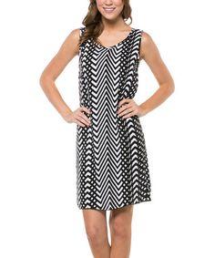 Look what I found on #zulily! Black & White Mod Zigzag Keyhole Sleeveless Dress #zulilyfinds