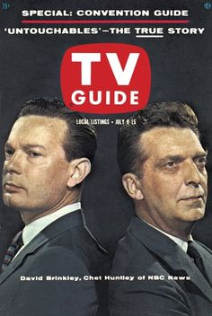 TV Guide: July 9, 1960 - David Brinkley and Chet Huntley of NBC News  JK NOTE: Sam, who ran the newsstand in the fictional building where fictional character, Katherine Caine, worked, talked her in watching the Democratic National Convention where she learned about John Kennedy's New Frontier.