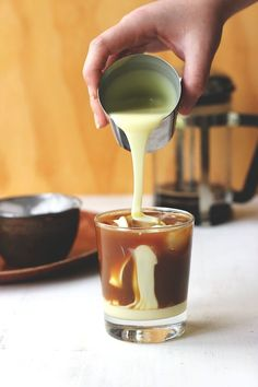 Pour some condensed milk over your fresh-brewed coffee.