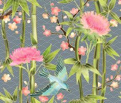 Bamboo, Birds and Blossoms on grey  fabric by micklyn on Spoonflower - custom fabric