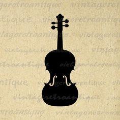 Violin Printable Image Download Violin Icon Digital Music Instrument Graphic Antique Clip Art for Transfers Printing etc HQ 300dpi No.4397