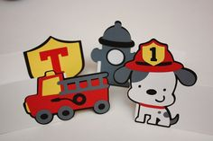 4 Handmade Fireman Party Food Tents / Table Labels - Firetruck Birthday Party Decoration - Dalmatian Dog - Fireman - Fire Truck Celebration