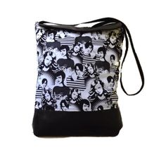 Face vegan tote bag black and white crossbody by Monalinebags, $50.00