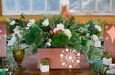 wood containers & deconstructed florals (not the white drawing on the box) - MC