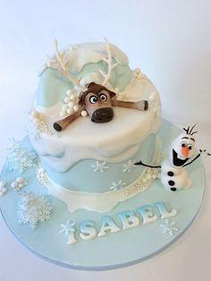 Bolo Frozen Ideias Lindas e Divertidas Bolo Frozen, Torte Frozen, Disney Frozen Cake, Frozen Theme Cake, Frozen Birthday Cake, Disney Cakes, Birthday Cakes, 5th Birthday, Sven Frozen