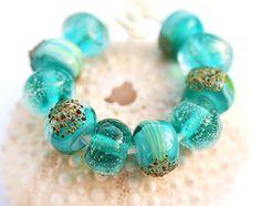 Handmade glass lampwork teal beads organic shape by MayaHoney, $20.00