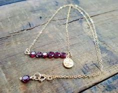 Garnet Necklace, Bar Necklace, Natural Garnet, Gold Garnet Necklace, Gold Jewelry, Gift For Her