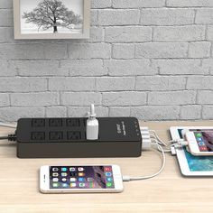 ORICO 8 Outlet Power Strip with Surge Protector, Built-in 5 Ft. Cord, 4 USB Intelligence Charging Ports (2×5V2.4A+2×5V1A) for iPhone, iPad, Samsung Galaxy S6 / S6 Edge, Nexus, HTC M9, Motorola, LG and More - Black (TPC-8A4U): Amazon.ca: Electronics