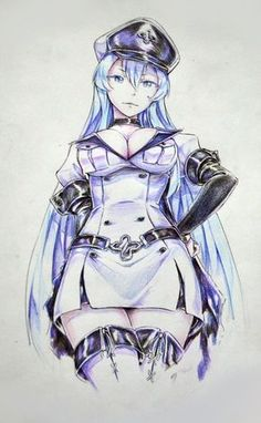 esdeath by packge.deviantart.com on @deviantART Esdeath is just a cool character to me + This art looks really cool.