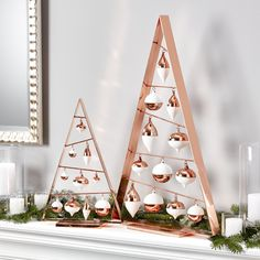 A-Frame Copper Ornament Trees | Crate and Barrel