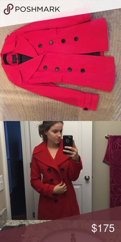 NWOT BCBG Maxarzia Fire Red Trench Coat NWOT trench coat! No damage whatsoever. Tag just taken off the item. Heavy coat that is perfect for colder weather. Fits sizes 0-4. Listed on Mercari for a lesser price. Same user name BCBGMaxAzria Jackets & Coats