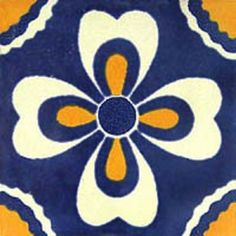"""Mexican tiles in """"Chilpancingo"""" style. Vintage with white and yellow terra cotta tile design over navy blue background. Shipping from Mexico to the US and Canada is estimated for four weeks. Mexican Art, Mexican Tiles, Mexican Ceramics, Tuile, Dark Interiors, Tile Art, Tile Painting, Tile Murals, Decorative Tile"""