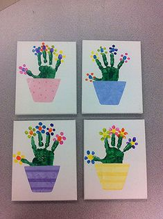 with fingerprint flowers on canvas. Flower pots were cut from scrapboo Handprint with fingerprint flowers on canvas. Flower pots were cut from scrapbooHandprint with fingerprint flowers on canvas. Flower pots were cut from scrapboo Egg Crafts, Baby Crafts, Preschool Crafts, Kids Crafts, Paper Crafts, Diy Paper, Mothers Day Crafts For Kids, Spring Crafts For Kids, Flower Pot Crafts