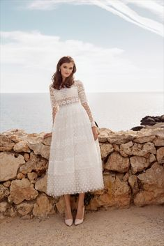 Deyla bohemian ankle length wedding dress strikes a magical balance between classic romance and boho-chic style in this crochet lace wedding gown. Ankle Length Wedding Dress, Long Sleeve Wedding, Luxury Wedding Dress, Wedding Gowns, Bridal Collection, Dress Collection, Cocktail Wear, W Dresses, Engagement Dresses