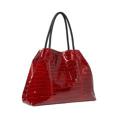 This bag features an additional snap clasp in the interior that allows the bag to expand up to 22 inches wide if you choose.  The shiny croco exterior and classy patterned lining gives this bag a stylish appeal. $74.95