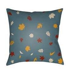 Blue Falling Leaves 18-Inch Throw Pillow with Poly Fill