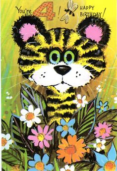 Big-Eyed Tiger Birthday Card For Four/ 4 Year Old Child Vintage 1960's. $3.00, via Etsy.