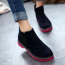 Botas de Tobillo de mujer 2016 Nueva Llegada Sólido de La Manera del Otoño y del Invierno de Las Mujeres Botas de Mujer Ocasional Del Todo-Fósforo Zapatos de Cuero Nobuck WXX014(China (Mainland))