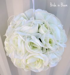 Wedding Pomander Wedding flower ball Flower girl Kissing ball white ivory Wedding decorations