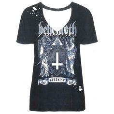 Behemoth: The Satanist (tricou dama - acid wash) Metalhead, V Neck, Mens Tops, T Shirt, Women, Fashion, Supreme T Shirt, Moda, Tee Shirt