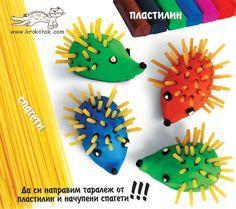 Spaghetti and Plasticine hedgehog craft! More Mais Toddler Crafts, Preschool Crafts, Diy Crafts For Kids, Arts And Crafts, Playdough Activities, Activities For Kids, Clay Projects, Clay Crafts, Hedgehog Craft
