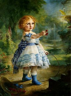 A little girl in an adorable frilly dress and bright blue boots from an 1871 painting by Lilly Martin Spencer.