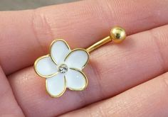 Gold and White Flower Belly Button Jewelry Ring by MidnightsMojo