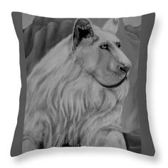 Lion Throw Pillow featuring the drawing White Lion by Faye Anastasopoulou