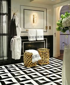 Gatsby Glam: Black, white and mirrored patterns frequent as flooring, feature walls, room screens and dividers, offering a graphic punch to any space.