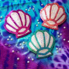 Sequin mermaid shell hair clip by KingSophiesWorld on Etsy