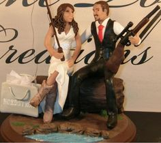 I want this cake topper, with a few alterations: more reddish hair, and instead of the shopping bag, a bow with a quiver of arrows and the bride and groom holding hands :)