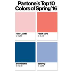 Pantone's top 10 colors for Spring 2016